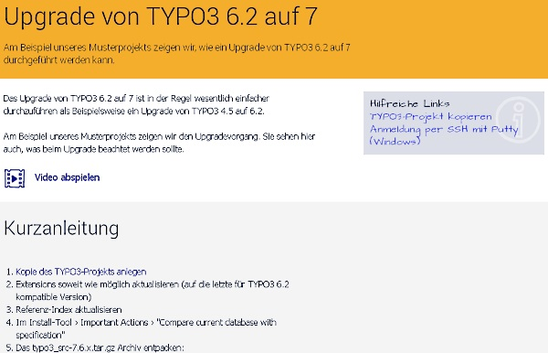 jweiland.net-video: Upgrade auf Typo3 7LTS