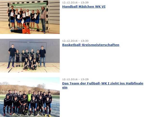 Sport-News machen die Schulhomepage attraktiv für Schüler.