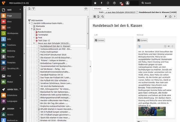 Blick ins Backend des Content Management Systems Typo3.